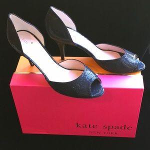 Kate spade NIB black sparkle peep toe WS 223